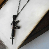 unisex machine gun single necklace handmade edgy necklace--gifts for men or women under 25 dollars