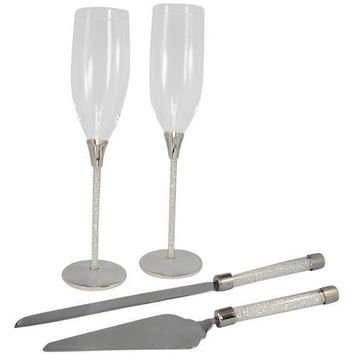 Unik Occasions Toasting Glasses and Cake Serving Set Silver 0 Each