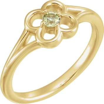 14K Yellow Gold Round Genuine Peridot Flower Youth Ring
