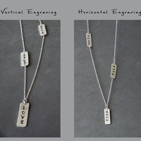 Bar Message Necklace Horizontal Vertical Personalized Plates Engraved Bar Necklace Name Monogram Layered Necklace Minimalist Jewelry