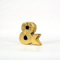 Rustic Gold Leaf Wood Ampersand