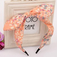 Floral Flowers Hairband Fabric Butterfly Bow Knot Hair Hoop Rabbit Ears Women Hair Accessories