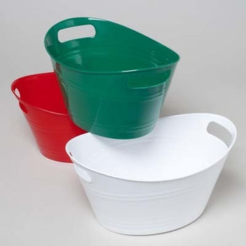 Double Handle Plastic Oval Basket- Christmas Colors