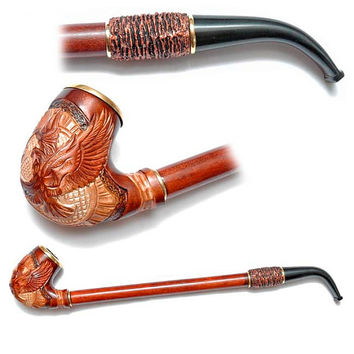 Wooden pipe, Tobacco Pipe, Collection Smoking Pipes. Long Pipe. Wooden Handmade. Wood Pipe - GOLDEN EAGLE