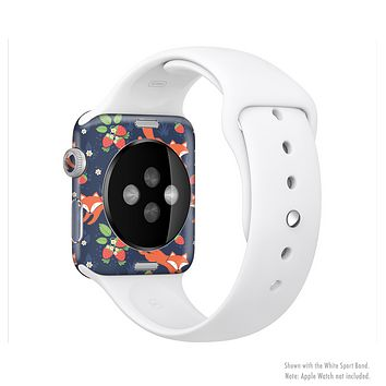 The Running Orange & Navy Vector Fox Pattern Full-Body Skin Kit for the Apple Watch