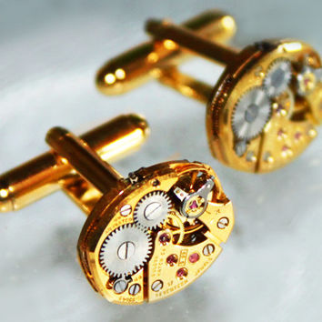 BULOVA Men Steampunk Cufflinks - 17J Gold Vintage Watch Movement - Matching Men Steampunk Cufflinks / Cuff Links - Groomsmen Wedding Gift