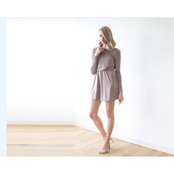 Mini Taupe dress with open back