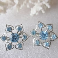 Vintage Twin Blue Rhinestone Brooches Pair of Prong Rhinestone Blue Pins Silver Tone Costume Jewelry