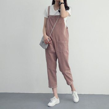 Stylish Womens Corduroy Jumpsuit  Spring Autumn Suspenders Trousers Women Solid Color Pant Overalls For Female New