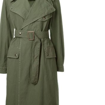 New high fashion Women's Casual Cotton Trench army green raincoat outerwear
