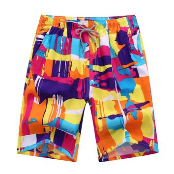 Fashion Mens Causal Beach Shorts Plus Size Loose Board Shorts Summer Quick Dry Breathable Cotton Boardshorts 3XL 4XL