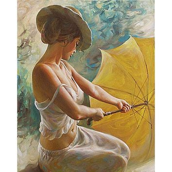 No Framed Sexy Umbrella Women DIY Painting By Numbers Home Wall Decor Canvas Painting For Unique Living Room Decoration 40x50cm