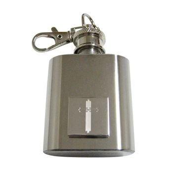 Silver Toned Etched Lined Religious Cross 1 Oz. Stainless Steel Key Chain Flask