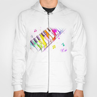 Watercolor Piano Keys Hoody by Trinity Bennett
