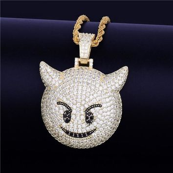 Iced Demon Evil Emoji Pendant With Tennis Chain