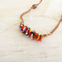 Fabric Bead Wire Wrapped Copper Choker Necklace Decorative Fun and Funky Free Shipping in USA