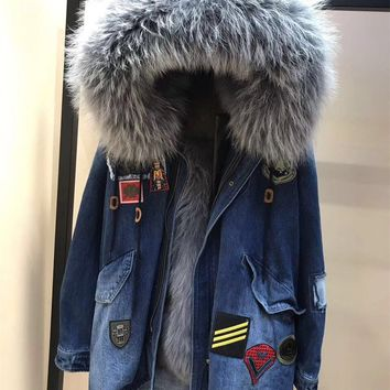 Luxury Fox Fur Lined Thick Parkas Badge Embroidery Women Denim Jacket Real Raccoon Fur Collar Hooded Coats Female Real Fur Parka