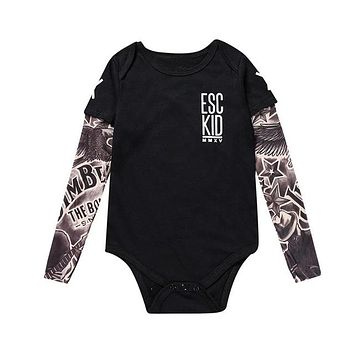 Tattoo Sleeves Baby Romper Bodysuit Outfit Punk Rock Baby Gift