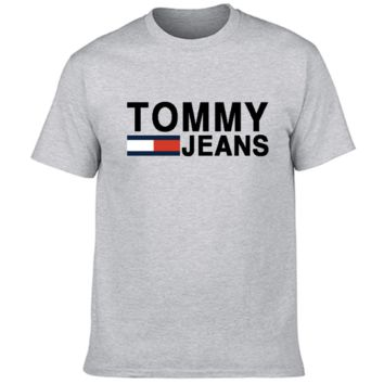 Tommy New Summer Fashion Bust Letter Stripe Print Sports Leisure Women Men Top T-Shirt Gray