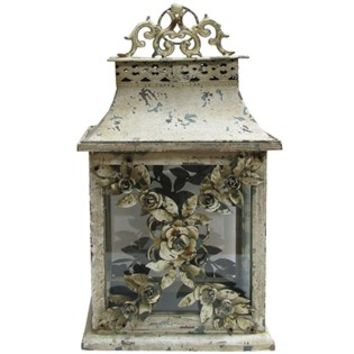 Antique White Metal Lantern with Roses | Shop Hobby Lobby