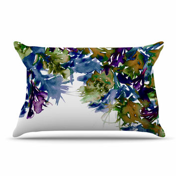 "Ebi Emporium ""Floral Cascade 4"" Purple Green Pillow Case"