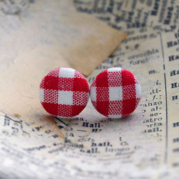Fabric Button Earrings, Gingham Fabric Button Earrings, Red Blue and Pink Earrings, Gingham Fabric, Birthday Present, Party Favor
