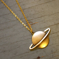 Vintage 70s Saturn Brass Planet Pendant Necklace