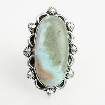 Larimar Ring Sz 7 Bohemian ring Sky blue stone metaphysical throat chakra gypsy rings wiccan Ring boho ethnic tribal Ring White Stone Ring