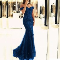 Blue Off-the-Shoulder Prom Gowns Lace Appliques Long Tulle Mermaid Evening Gowns Formal Party Women Dresses Custom Made