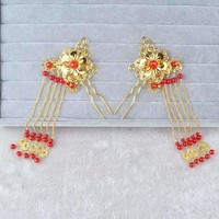 Chinese Style Bridal Hair Pins with Tassels