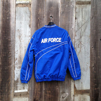 Vintage Air Force Jacket, 80s Air Force Track Jacket, 90s Air Force Jacket, Blue Air Force Jacket, Striped Air Force Jacket