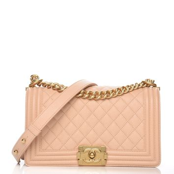 CHANEL Caviar Quilted Medium Boy Flap Light Beige