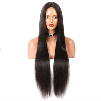Lace Front Straight Brazilian Remy Human Hair Wig