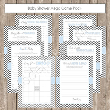 Baby Shower Game Pack - Shower Games Pack in Chevron, baby blue, blue and grey, gray  advice, a to z baby, baby babble -  INSTANT DOWNLOAD