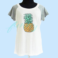 Pineapple tshirt cream grey women tshirt size S M L shirt **quote shirt **women tshirt **short raglan shirt
