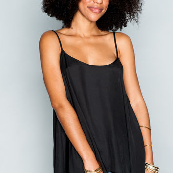 Show Me Your mumu Lenz Spaghetti Top ~ Black Silky Satin