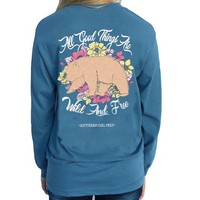 "Southern Girl Prep  ""Wild & Free"" Long Sleeve T-shirt"