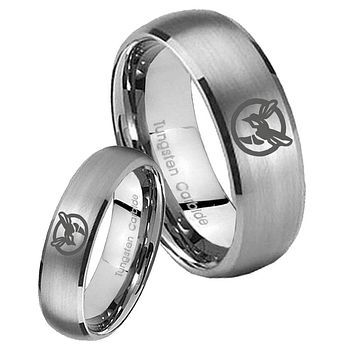 His Her Satin Silver Dome Honey Bee Tungsten Carbide Wedding Rings Set