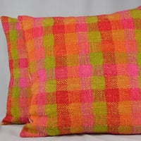 "Plaid Pillow Cover, Cushion Cover, Square PIllow, Boho Decor, Boho Pillow Cover, Plaid Decor, Throw Pillow, Home Decor - 16"" - PC46"