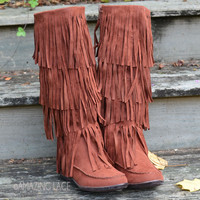 Milton Ridge Rust Suede Fringe Tall Boots
