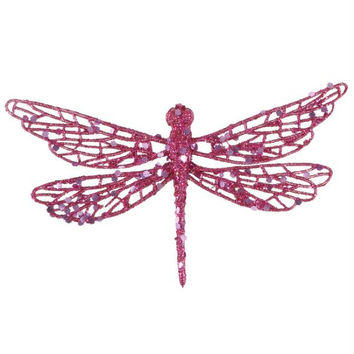 12 Pink Clip-on Dragonfly - Come Ready-to-attach With Alligator Clips Located On The Bottom Of Each Ornament
