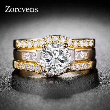 ZORCVENS 3pcs/set Women's Ring Set Silve and Gold Color Crystal Stone Wedding Jewelry Rings For Women