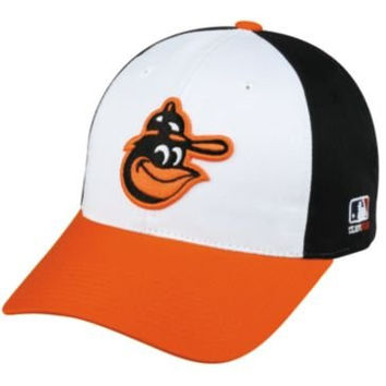 MLB Cooperstown ADULT Baltimore ORIOLES Wht/Orng/Blk Hat Cap Adjustable Velcro TWILL Throwback