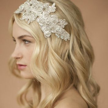 Sculptured Lace Wedding Headband with Crystals & Beads