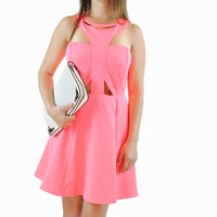 (anr) Sweet charms neon pink skater dress
