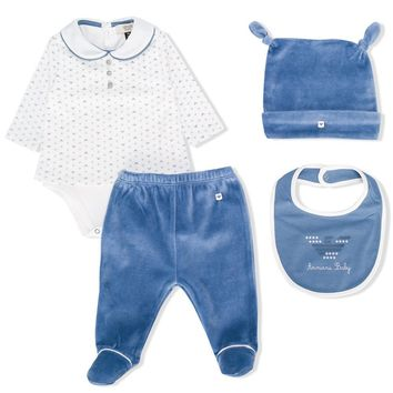Armani Baby Luxury Velvet Pajama Hat and Bib (Gift Set)