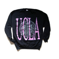 UCLA Black Crewneck Sweatshirt - Pink and Purple University of California Los Angeles Sweatshirt - Jerzees