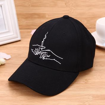 New Design Men Women's Hats Gorras Casquette Dad Snapback Hats Brand Baseball Cap Hands Smoking  Embroidery Hip-hop Baseball Cap