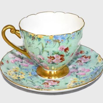 Vintage Shelley Melody Chintz Teacup Saucer Ripon Shape 13382