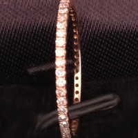 Pave Diamond Wedding Band Eternity Anniversrary Ring 14K Rose Gold VVS-H 0.27ct Diamonds - Thin Design